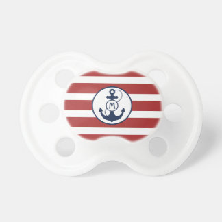 Red Nautical Anchor Monogram Pacifier
