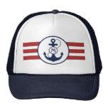 Red Nautical Anchor Monogram Trucker Hat