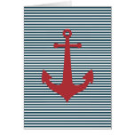 Red nautical anchor on striped blue background greeting card