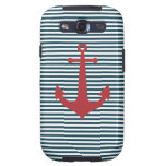 Red nautical anchor on striped blue background galaxy s3 cover