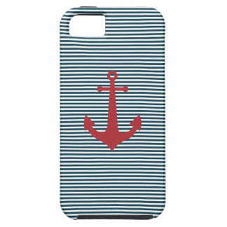 Red nautical anchor on striped blue background iPhone 5 cover