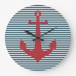 Red nautical anchor on striped blue background wallclock