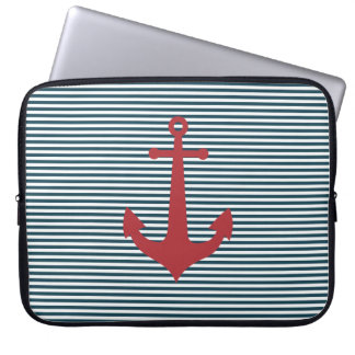 Red nautical anchor on striped blue background computer sleeve