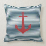 Red nautical anchor on striped blue background pillows