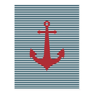 Red nautical anchor on striped blue background post card