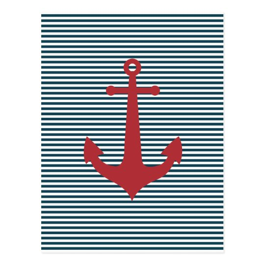 Red nautical anchor on striped blue background postcard