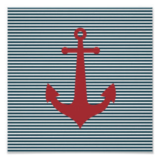 Red nautical anchor on striped blue background poster