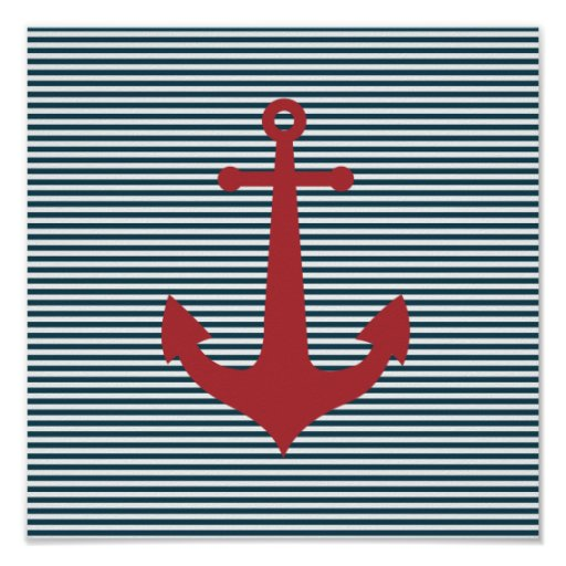 Red nautical anchor on striped blue background posters