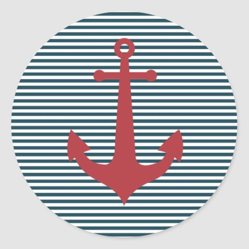 Red nautical anchor on striped blue background sticker