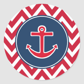 Red Nautical Anchor Party Stickers