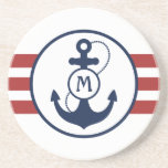 "Red Nautical Anchor Sandstone Coaster<br><div class=""desc"">Red and white nautical stripes with navy blue anchor and monogram.</div>"