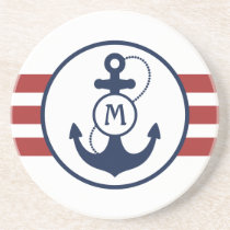 Red Nautical Anchor Sandstone Coaster