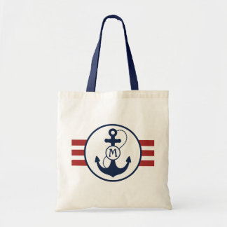 Red Nautical Anchor Tote Bag