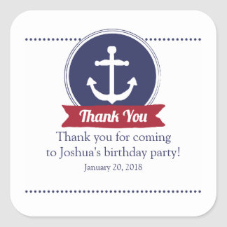 red NAUTICAL BIRTHDAY party favor label