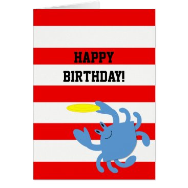 Beach Themed Red Nautical Blue Crab Personalized Birthday Card