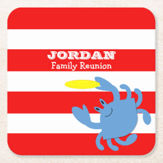 Red Nautical Blue Crab Personalized Square Paper Coaster