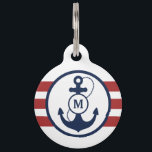 "Red Nautical Monogram Pet Name Tag<br><div class=""desc"">Navy blue anchor with red nautical stripes and monogram,  add your pet&#39;s name and your phone number on the back.</div>"