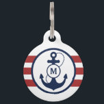 """Red Nautical Monogram Pet Name Tag<br><div class=""""desc"""">Navy blue anchor with red nautical stripes and monogram,  add your pet&#39;s name and your phone number on the back.</div>"""
