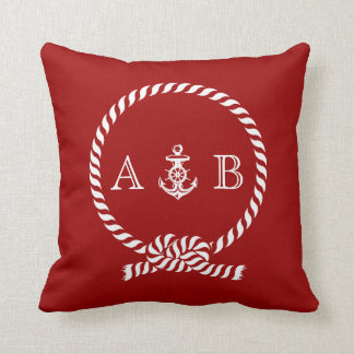 Red Nautical Rope and Anchor Monogram Pillow