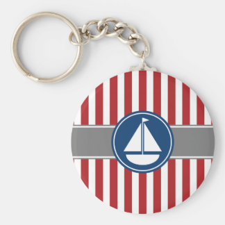 Red Nautical Sailboat Stripes Basic Round Button Keychain