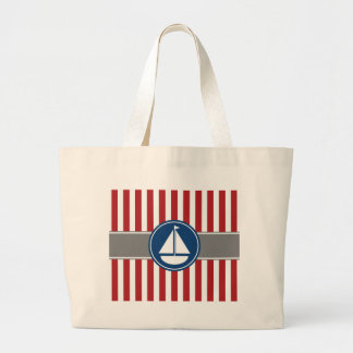 Red Nautical Sailboat Stripes Large Tote Bag