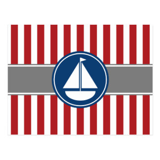 Red Nautical Sailboat Stripes Postcard