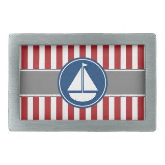 Red Nautical Sailboat Stripes Rectangular Belt Buckle