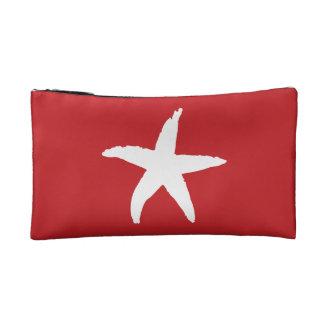 Red Nautical Sea Star Cosmetics Bags
