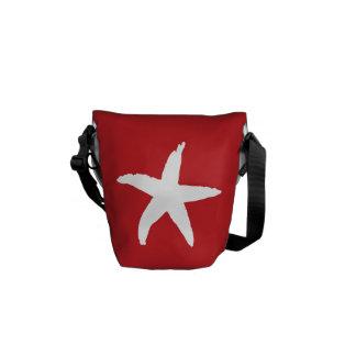 Red Nautical Sea Star Messenger Bags