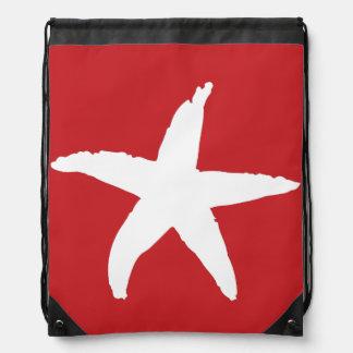 Red Nautical Sea Star Drawstring Bags