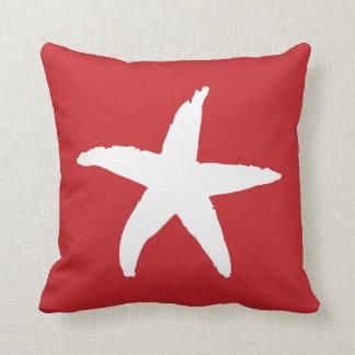Red Nautical Sea Star Throw Pillow