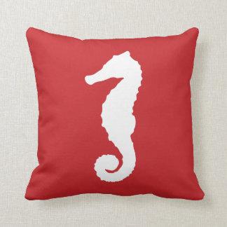 Red Nautical Seahorse Throw Pillow