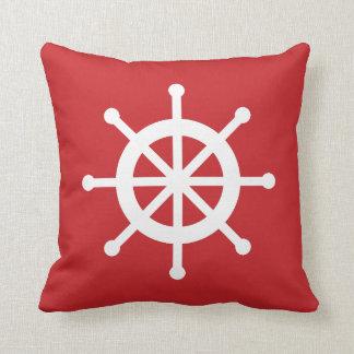 Red Nautical Ship Wheel Throw Pillow