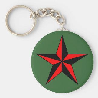 Red Nautical Star Keychain