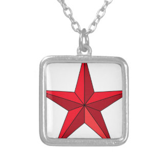 Red Nautical Star Silver Plated Necklace