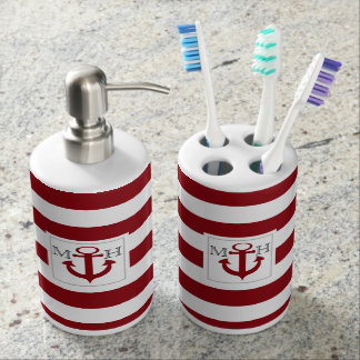 Red Nautical Stripe and Anchor with Monogram Soap Dispensers
