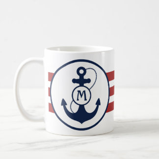Red Nautical Stripes with Anchor and Monogram Coffee Mug