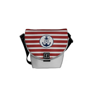 Red Nautical Stripes with Anchor Monogram Courier Bag