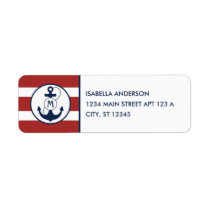 Red Nautical Stripes with Anchor Monogram Label