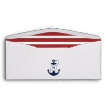 Red Nautical Stripes with Navy Blue Monogram Envelope
