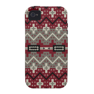 Red Navajo Abstract Vibe iPhone 4 Cases