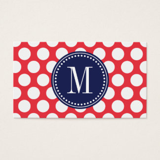 Red & Navy| Big Polka Dots Monogrammed Business Card