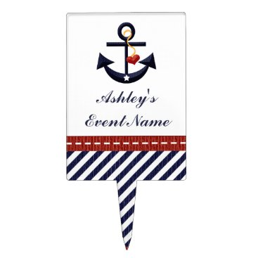 Beach Themed Red Navy Blue Anchor Nautical Cake Pick Topper