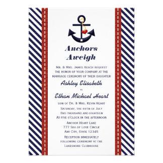 Red Navy Blue Anchor Nautical Wedding Invitations