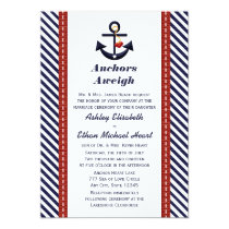 Red Navy Blue Anchor Nautical Wedding Invitations