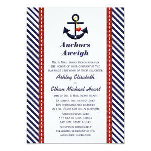 Red Navy Blue Anchor Nautical Wedding Invitations 5