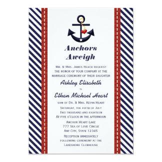 "Red Navy Blue Anchor Nautical Wedding Invitations 5"" X 7"" Invitation Card"