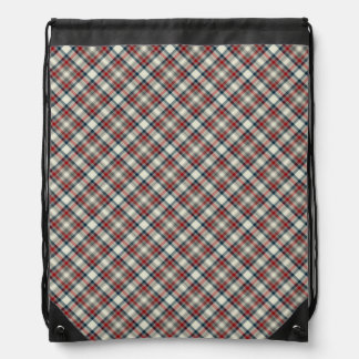 Red, Navy Blue and Grey Plaid Drawstring Backpack