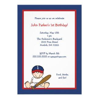 Red Navy Blue Baseball 1st Birthday Party Invite