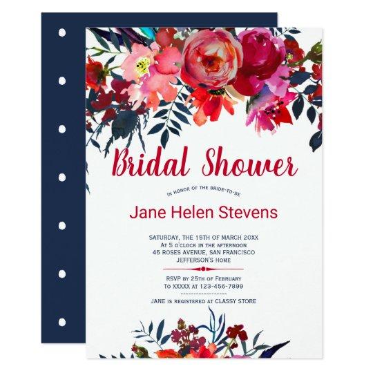 bbddba95d09f Red navy blue bohemian floral bridal shower invitation